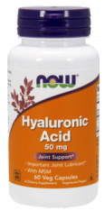 Гиалуроновая кислота NOW Hyaluronic Acid 50 мг + MSM - 60 капсул